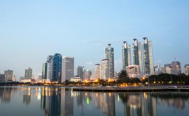 benchakitti park bangkok thailand night city