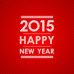happy new year 2015 in square polygon pattern red background