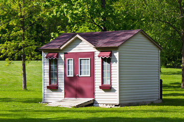 Storage shed in the backyard