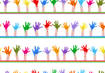 colorful hands seamless pattern