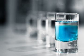Shot Glasses with Blue Alcohol