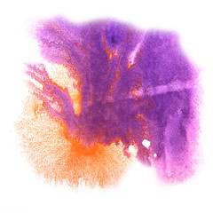 art purple, orange watercolor ink paint blob watercolour splash
