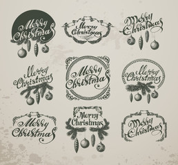 Christmas Vintage Icons, Elements And Illustrations Set