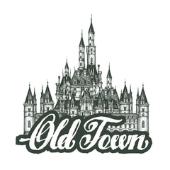 old town. Cartoon hand drawing houses