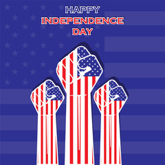 Independence Day of united state hand design vector