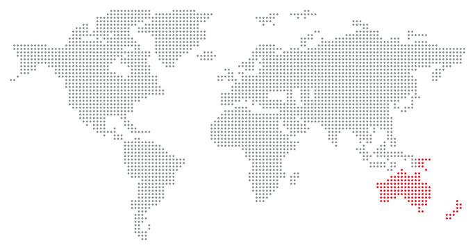 Dotted World Map - Australia