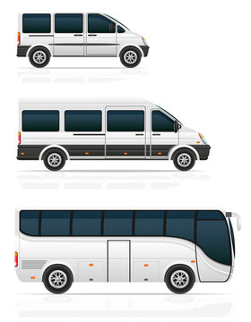 large and small buses for passenger transport vector illustratio