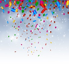 celebration background with confetti in the sky