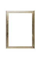 simple old golden picture frame, isolated on white