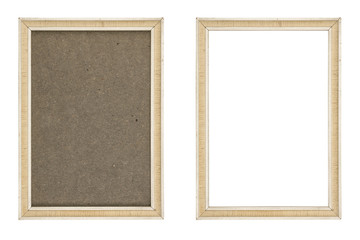 old white picture frame with and without fiberboard background,