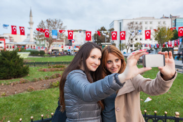 Two Women taking a Selfie in Istanbul, Turkey