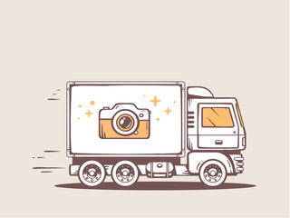 Vector illustration of truck free and fast delivering photo came