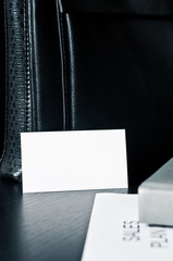 sales plan with a business card and luxury on the table