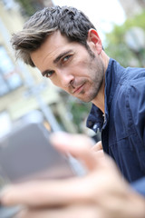 Man making selfy with smartphone