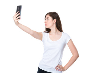 Brunette woman take selfie