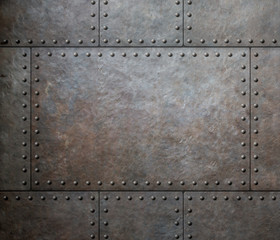 metal texture with rivets as steam punk background or texture