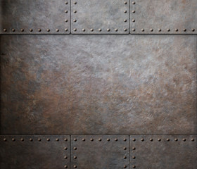 Wall Mural - rust steel metal texture with rivets as steam punk background