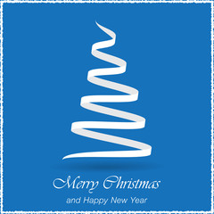 Simple christmas blue vector background with christmas tree