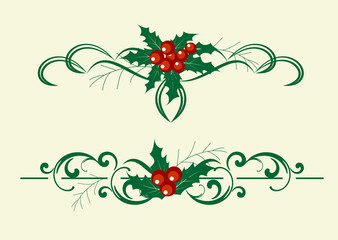Christmas decoration holly set. Vector illustranion.
