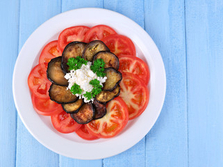 Eggplant salad with tomatoes and feta cheese,