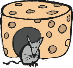 doodle concept mouse and cheese