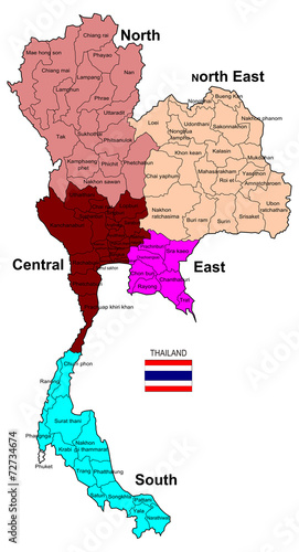 Thailand Map Regions Stock Photo And Royaltyfree Images On - Thailand regions map