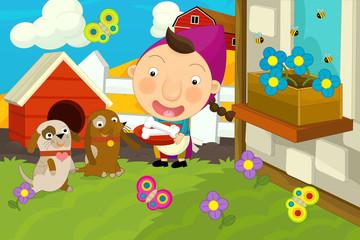 Cartoon happy and funny scene - kids on the farm - girl is feeding dog - llustration for children