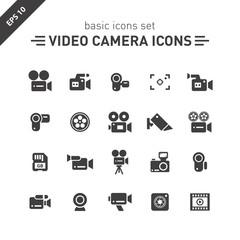 Video camera icons set.