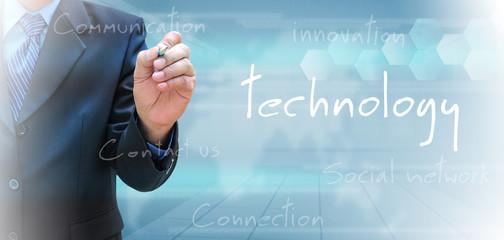 businessman hand writing technology