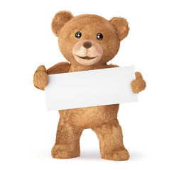 teddy with empty card