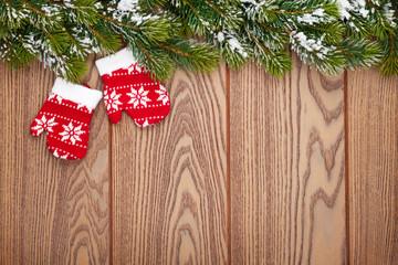 Christmas mitten decor and snow fir tree