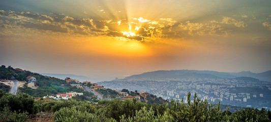 Fotobehang Midden Oosten Panoramic look of northen Israel during sunset