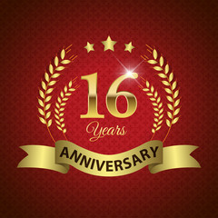 Celebrating 16 Years Anniversary, Golden Laurel Wreath & Ribbon