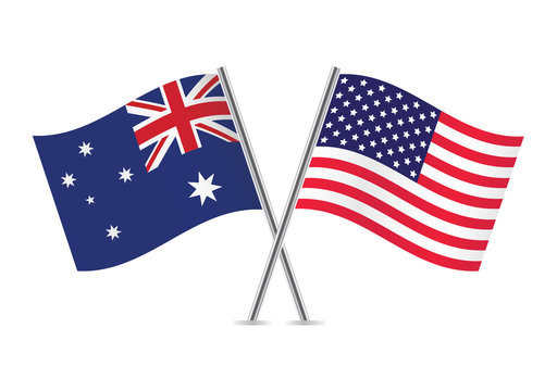 American and Australian flags. Vector illustration.