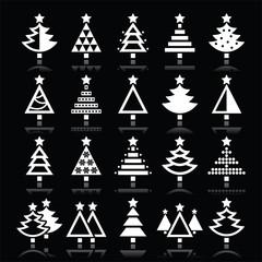 Christmas tree white icons set isolated on black