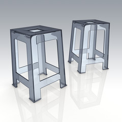 3D rendering plastic chairs