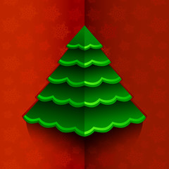 Vector illustration. Paper Christmas tree on red background