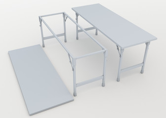 3D folding table for outdoor activity in isolated background with work paths, clipping paths included