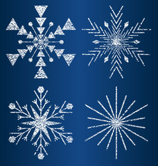 vector textured snowflakes3