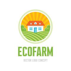 Ecofarm - vector logo. Organic product farm illustration.