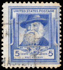 Stamp printed in USA shows Walt Whitman