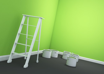 3d light green wall painting, ladder, paint cans