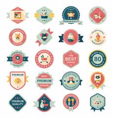 Baby badge banner design flat background set, eps10