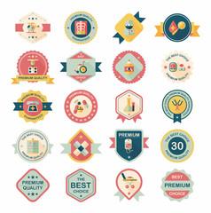 hospital badge banner design flat background set, eps10
