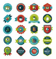 School badge banner design flat background set, eps10