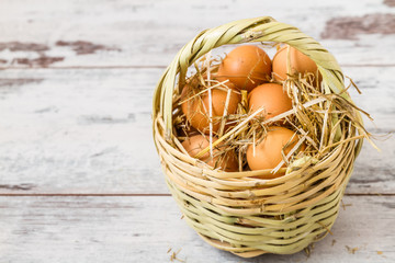 Brown Eggs in a Straw Basket