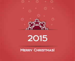 Christmas snowflake vector red  background