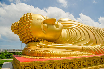 Golden reclining Buddha in Songkhla province, Thailand