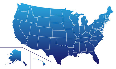 USA in Blau