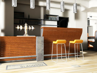 Restaurant interior render and illustration